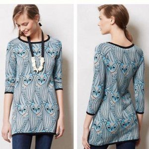 Anthro HWR Nestled Owl Print Tunic Sweater XS Rare